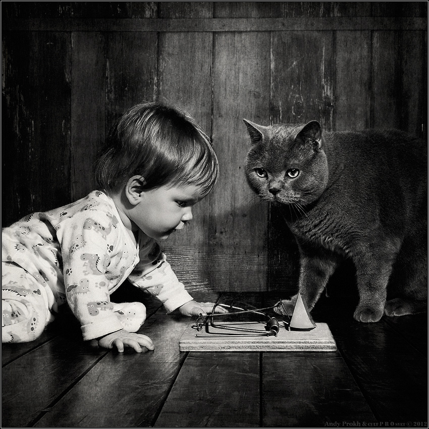 Andy-Prokh, The-Mouse-Hunters, Girl-and-cat, black-and-white, black-and-white-photography