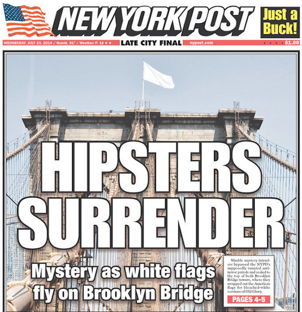 photography, arts, hipster, ny-post, white-flag, brooklyn bridge, news