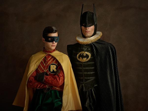 Batman and Robin, sacha goldberger, super flemish, villian, superheroes, photograph