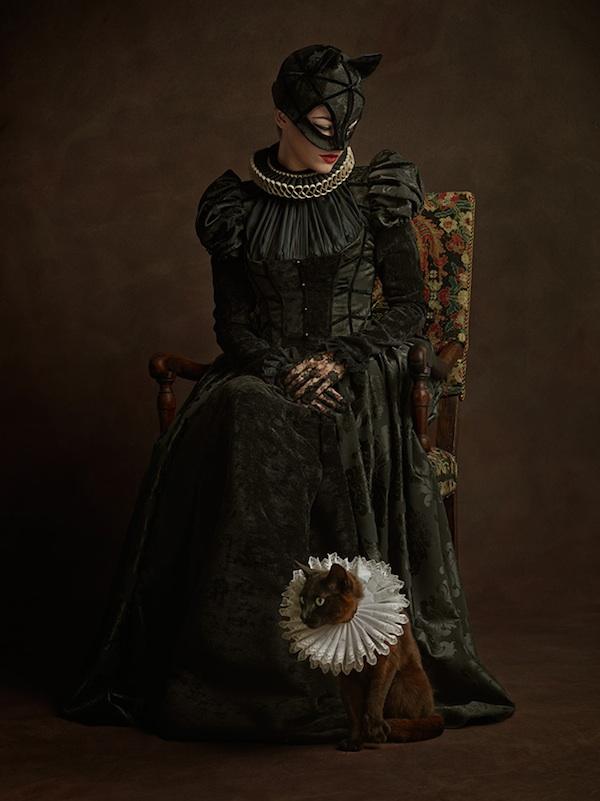 Cat Woman, super flemish, superheroes, sacha goldberger, 16th century, portrait, photography
