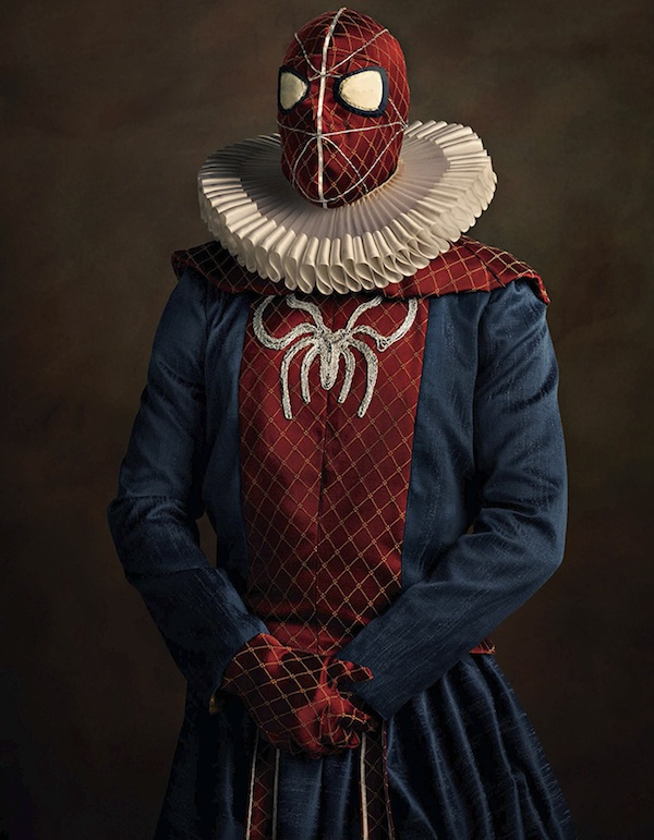 Spiderman, portrait, photography, super flemish, 16th century, sacha goldberger