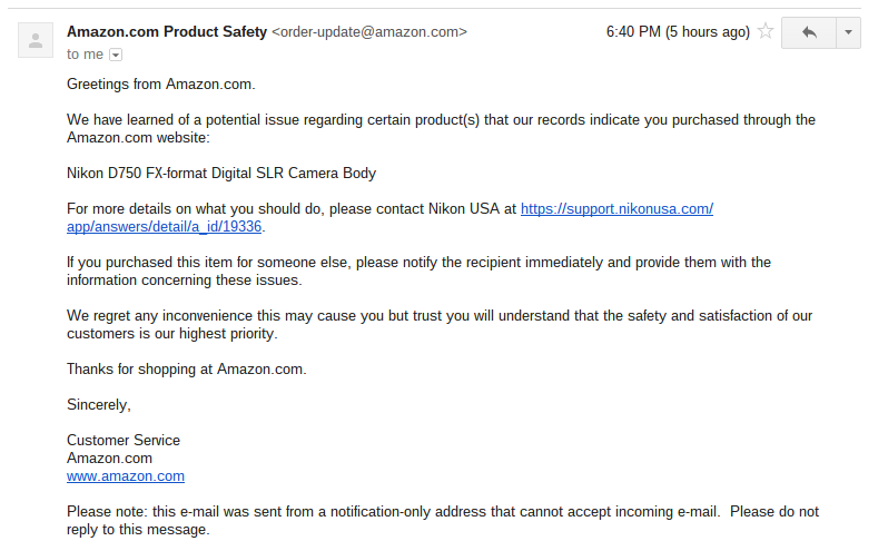 nikon d750 flare issue pulled from amazon