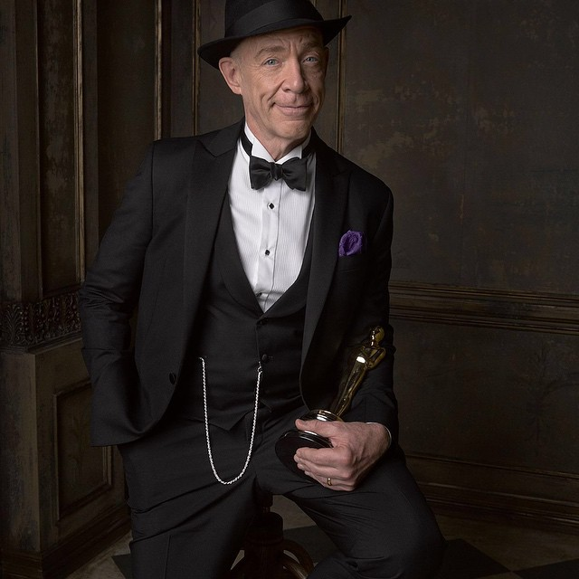 Despite what you said in #Whiplash...good job, J.K. Simmons! Go to VF.com for more #VFOscarParty portraits by @markseliger © Vanity Fair