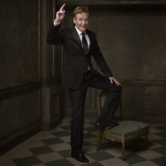 Vote for Conan! Or something. The late-night icon poses for @markseliger in the #vfoscarparty portrait studio © Vanity Fair