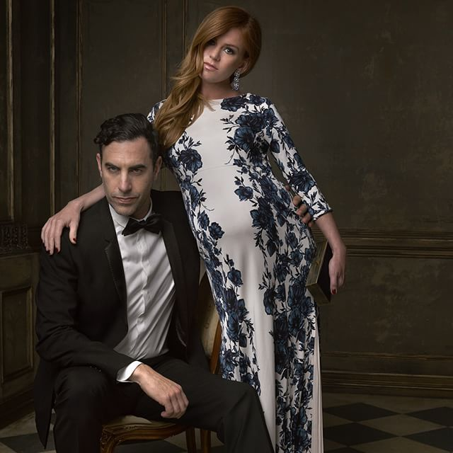 Sacha Baron Cohen and wife Isla Fisher pose with the newest member of their family for @markseliger #vfoscarparty © Vanity Fair