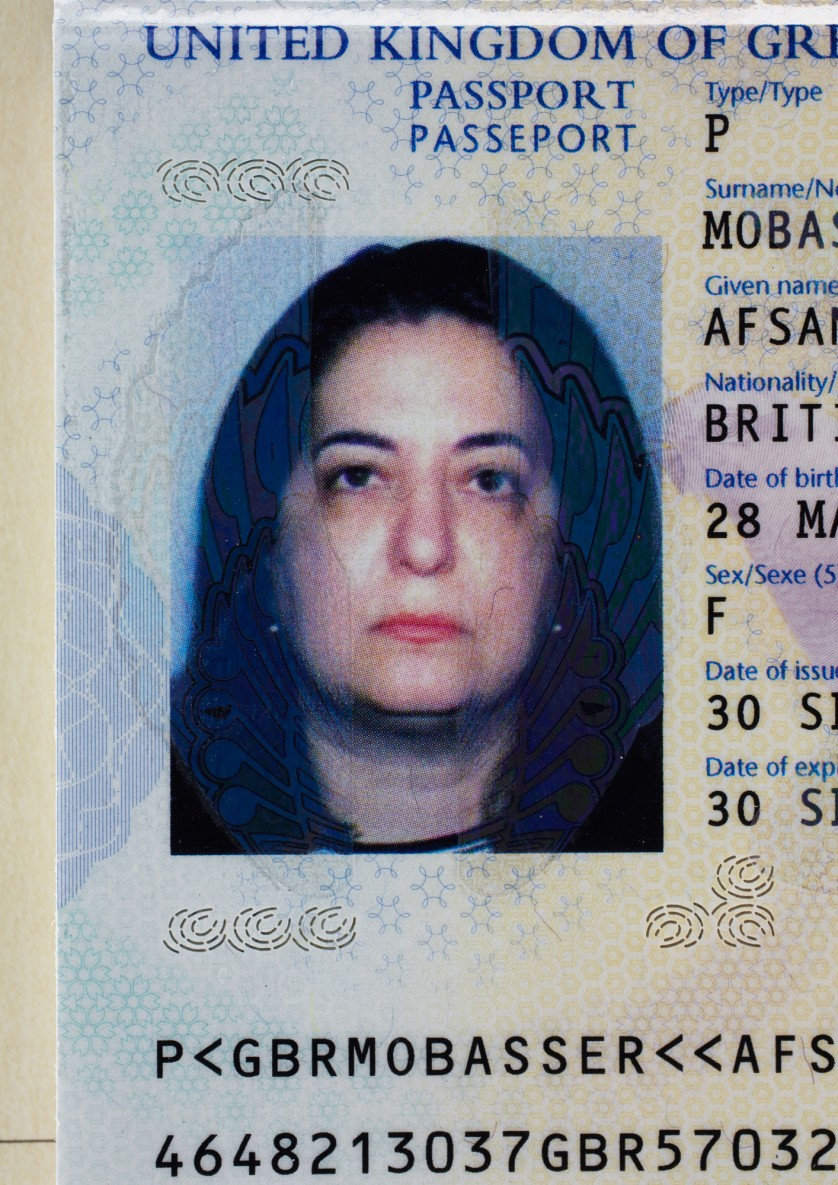 Afsaneh Mobasser, age 52. British Passport. Issued in London, 2009 © Ali Mobasser