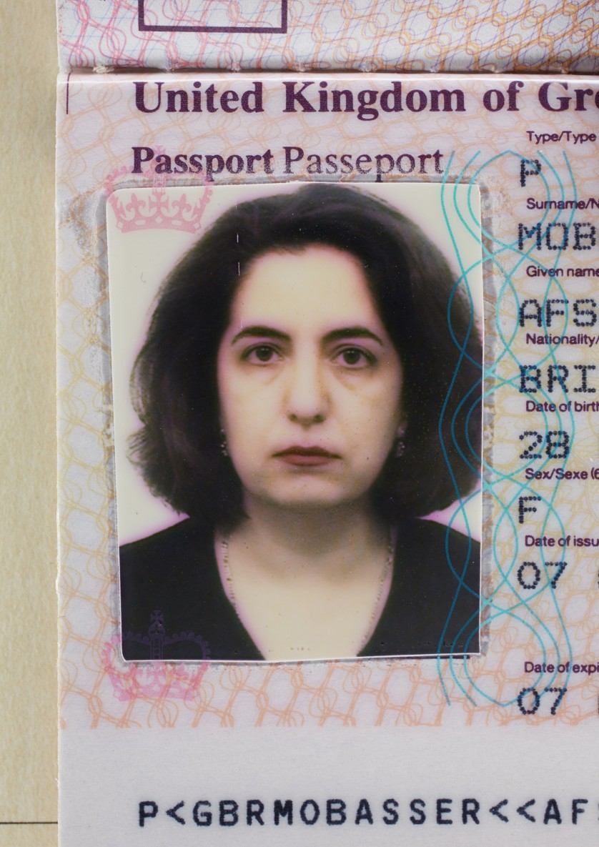 Afsaneh Mobasser, age 42. British Passport. Issued in London, 1999 © Ali Mobasser