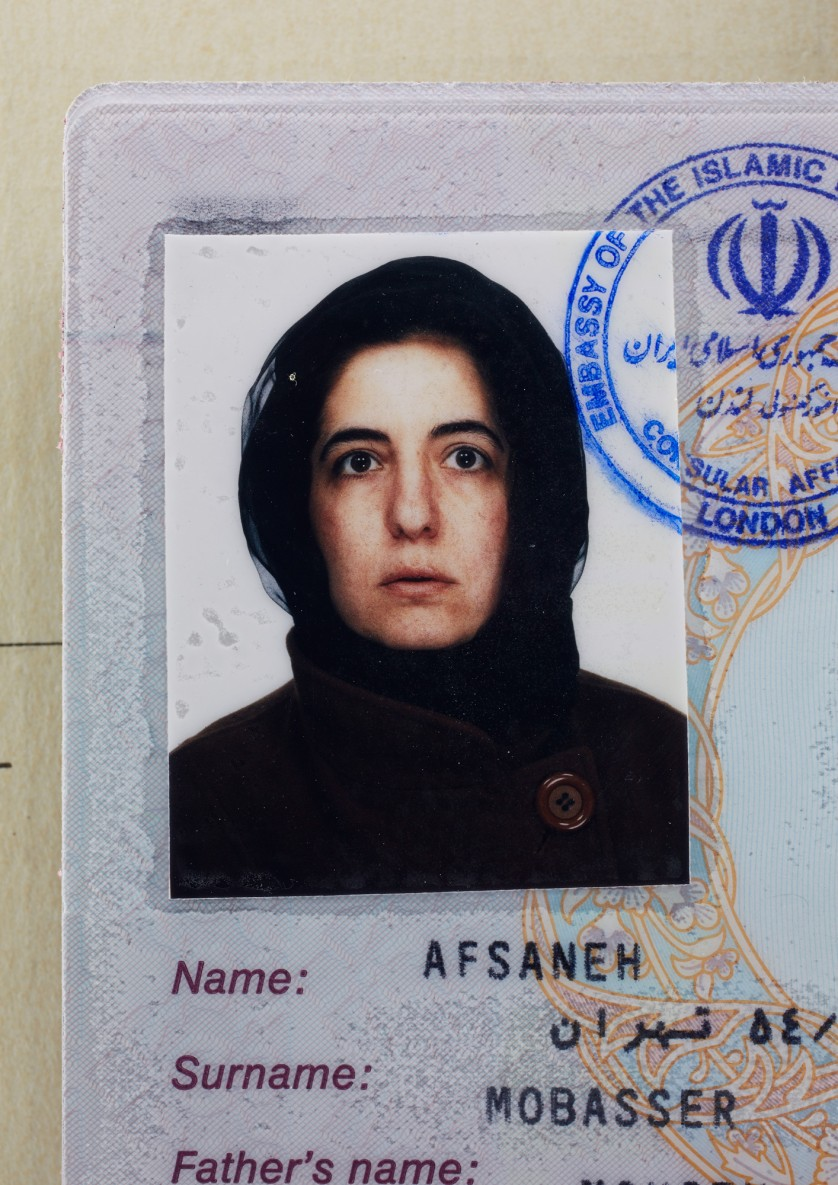 Afsaneh Mobasser, age 39. Iranian Passport. Issued in London, 1996 © Ali Mobasser