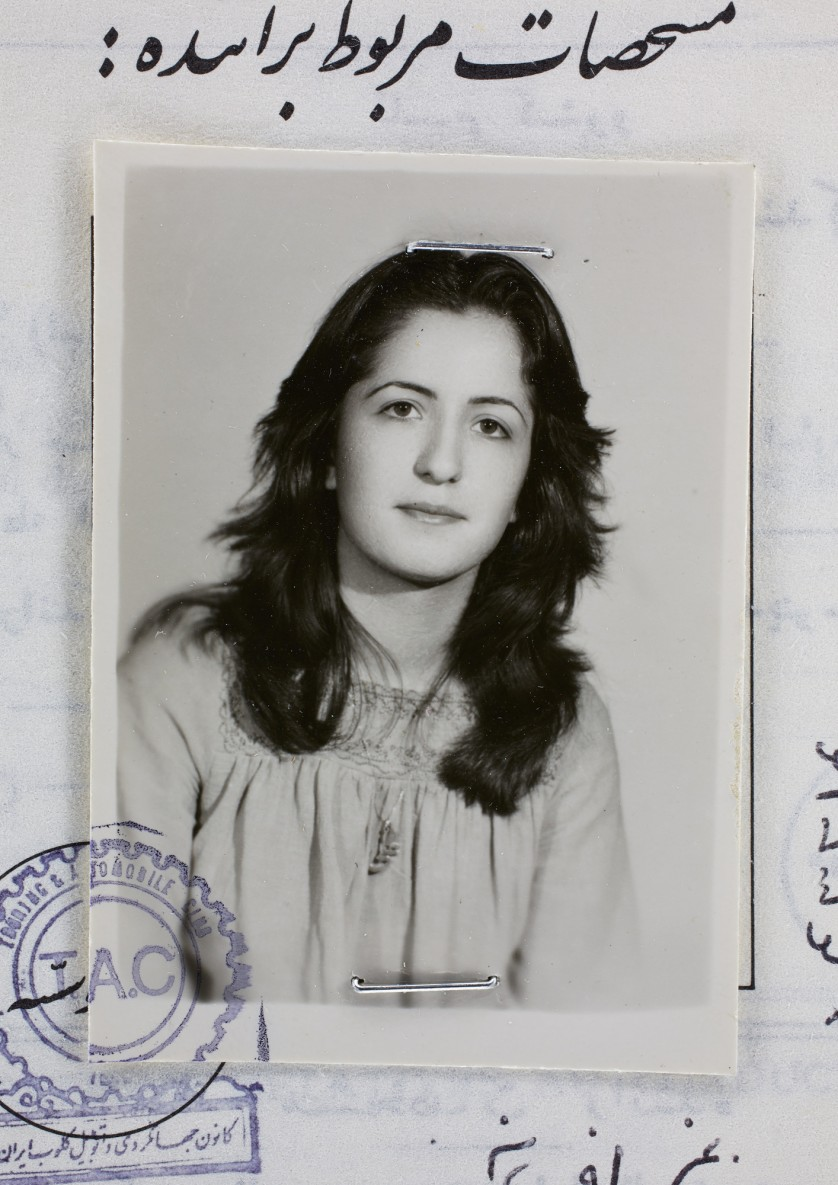 Afsaneh Mobasser, age 18. International Driving License. Issued in Tehran, 1975 © Ali Mobasser