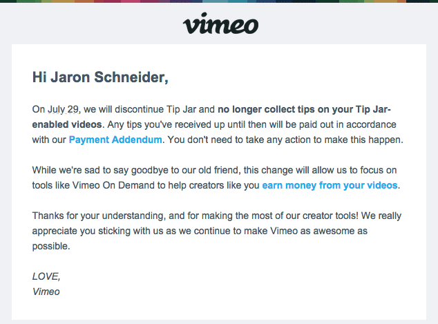Vimeo Phases out the Tip Jar