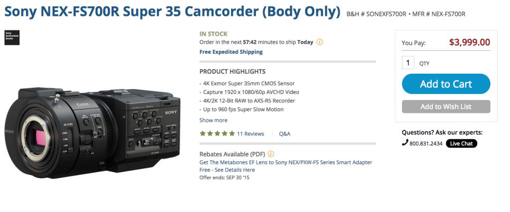 Sony FS700R Price Cut $3999