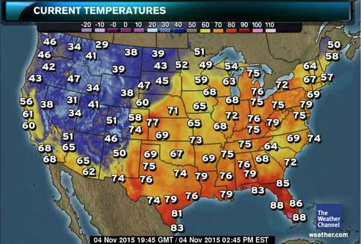 It Is The Perfect Photography Weather In Most Of The US Right - Current temperature map in us