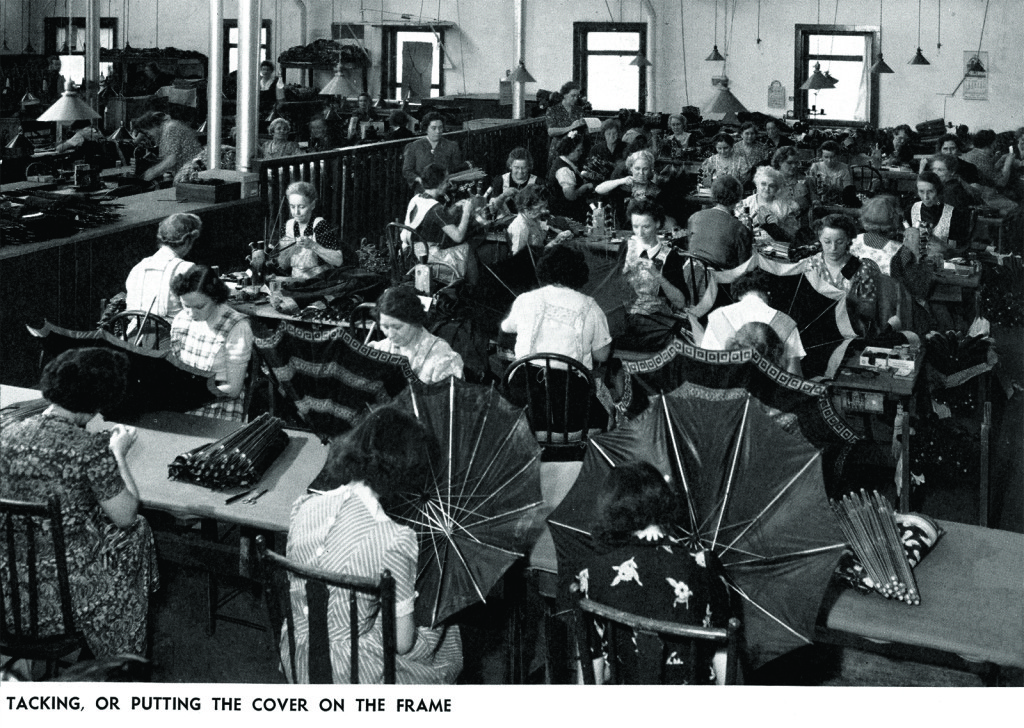 A view of the umbrella factory in the early 1900s