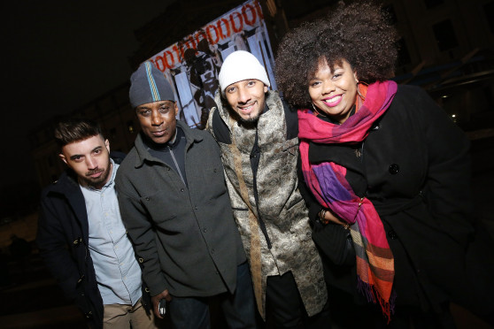 NEW YORK, NY - FEBRUARY 01: (L-R) Jason Seife, Ron Haywood Jones, Swizz Beatz, and Princess Smith celebrate the 25th anniversary of the Canon EOS Rebel SLR Camera with Rebel With A Cause to showcase #TheUnknowns on February 1, 2016 in New York City. (Photo by Cindy Ord/Getty Images for Canon)