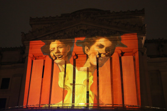 Artist Stephanie Bradie's work projected on the Brooklyn Museum (Photo by Cindy Ord/Getty Images for Canon)