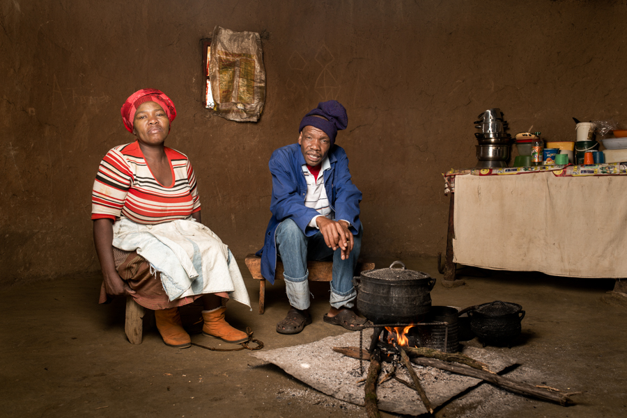 Nanabezi Mgoduswa with his wife Nokwanda - Mr Mgoduswa is 48 years old and worked in the gold mines for 21 years. He has silicosis and drug resistant TB. He received no compensation. Bizana, South Africa