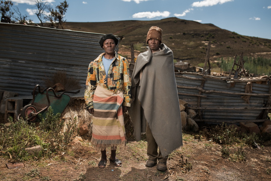 Noebejara Tau with his wife - Mr Tau is 70 years old and worked in the gold mines for 28 years. He has silicosis and is unsure if he ever received any compensation - Mafeteng, Lesotho