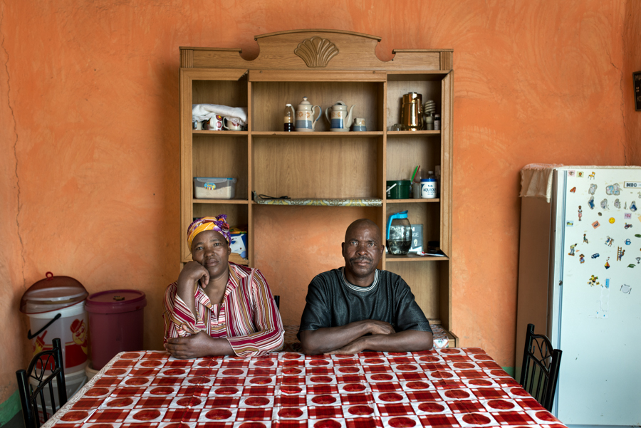 Zama Gangi with his wife Matshozi - Mr Gangi is 60 years old. He worked in the gold mines for 19 years. He has silicosis and received no compensation - Kwagorha, South Africa