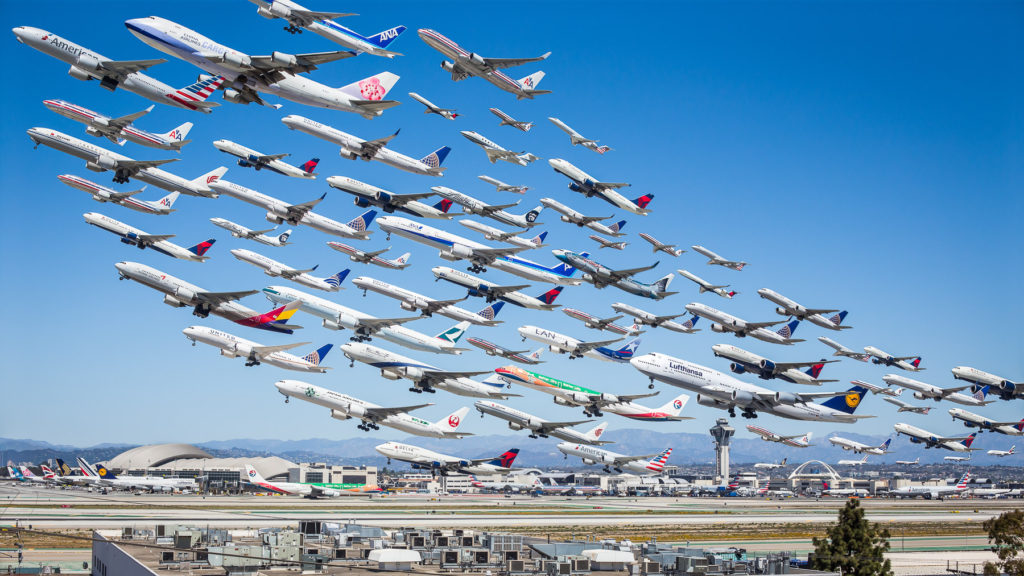 Wake Turbulence: LAX This is the original image which was supposed to be a proof-of-concept for the series. It was extremely successful and convinced me to expand the project to airports around the world. This image shows a day's worth of takeoffs from LAX's south runways, though some aircraft have been omitted due to redundancy - i.e., we don't need to see 84 737s!