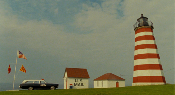 lighthouse, blue sky, police car