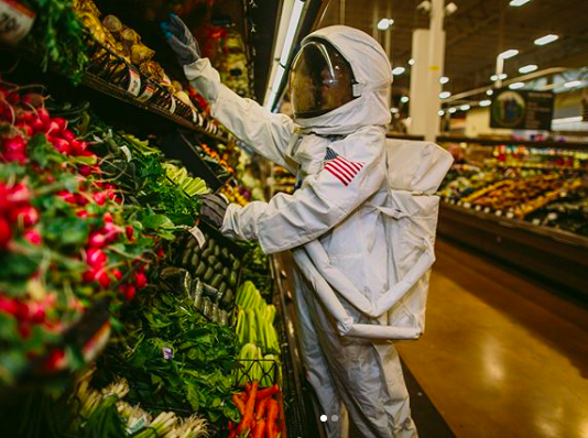 astronaut, grocery store