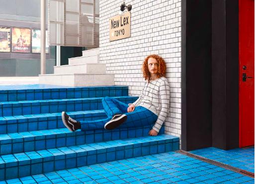 tiles, blue, white, man, red hair