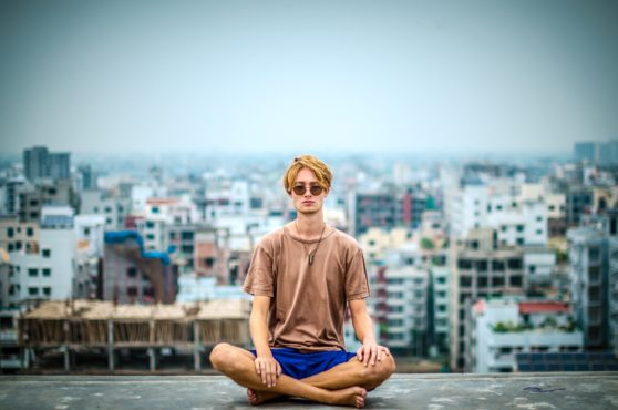 meditation, city, rooftop