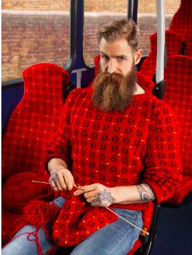Bus, seat, red, sweater, beard