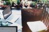 desk, organized, plants, clean space