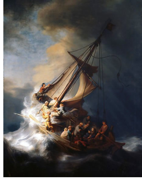 painting, boat, rembrandt, ocean