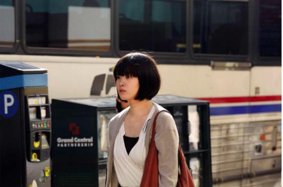 woman, street, bus