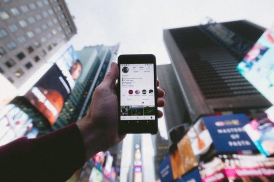 phone, social media, city