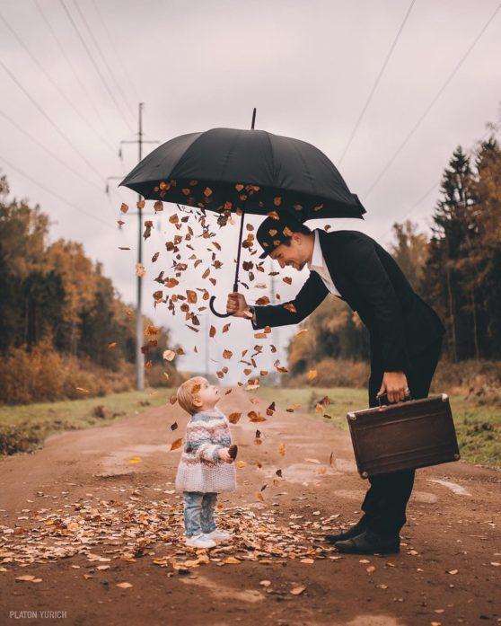umbrella, hat, leaves
