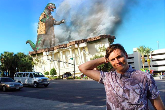 Godzilla, destroy, building