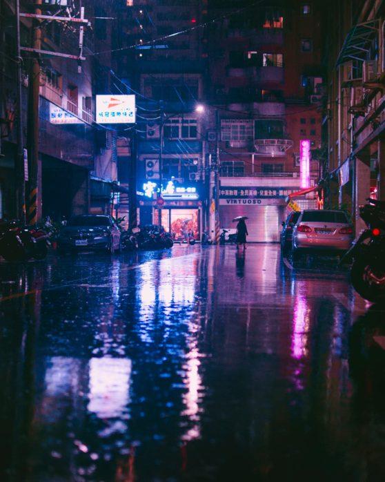 city, rain