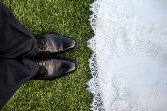 wedding, feet, couple