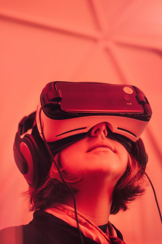 virtual reality, red, girl, goggles
