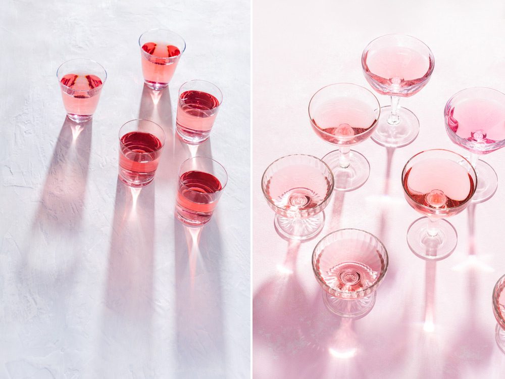 Pink beverage photography