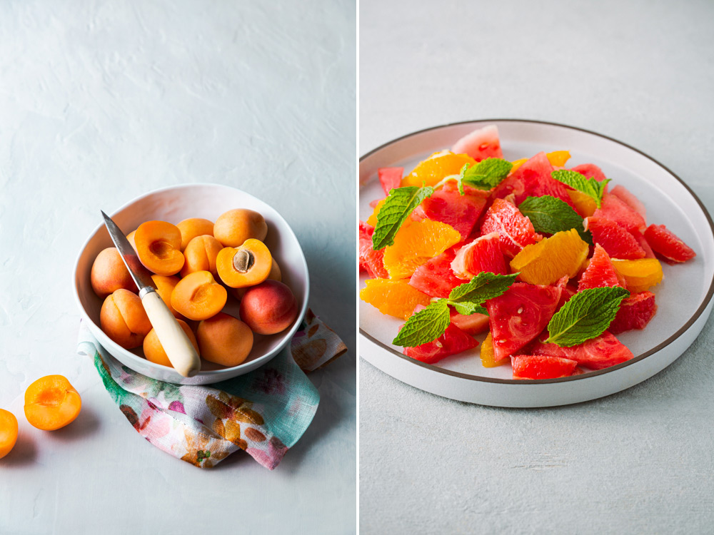 Sliced fruits in a bowl and platter